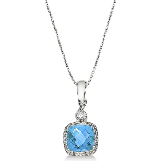 Blue Topaz & Diamond Vintage Pendant Necklace 14k White Gold (0.93ct)