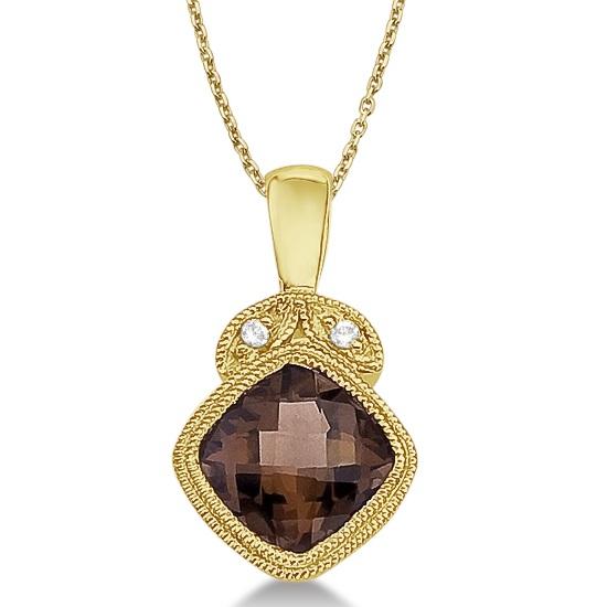 Smoky Topaz & Diamond Vintage Style Pendant 14k Yellow Gold (0.93ct)