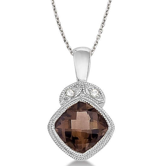 Smoky Topaz & Diamond Vintage Pendant Necklace 14k White Gold (0.93ct)