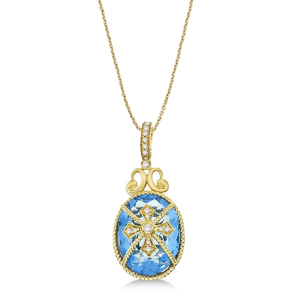 Blue Topaz & Diamond Byzantine Pendant Necklace 14k Yellow Gold (9.36ct)