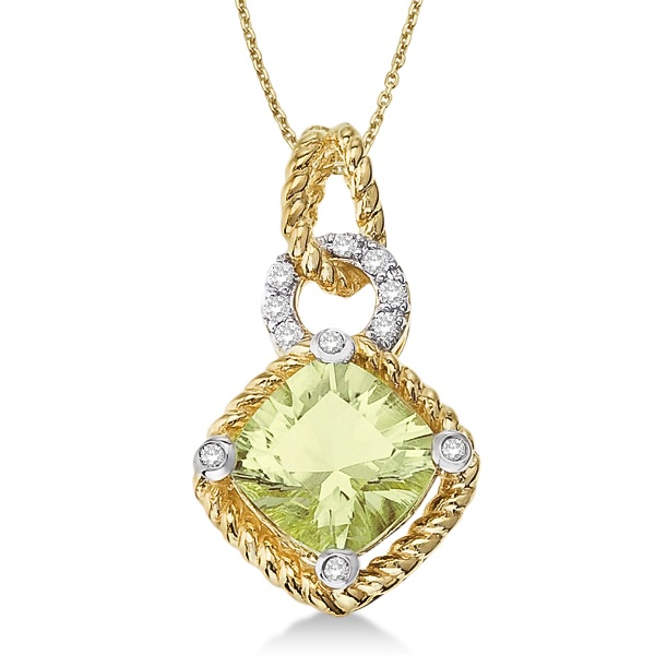 Cushion Green Amethyst Rope Pendant Necklace 14k Yellow Gold (1.85ct)