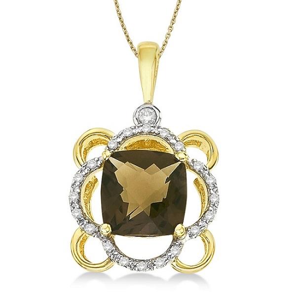 Cushion-Cut Smoky Topaz & Diamond Pendant 14k Yellow Gold (1.00ct)