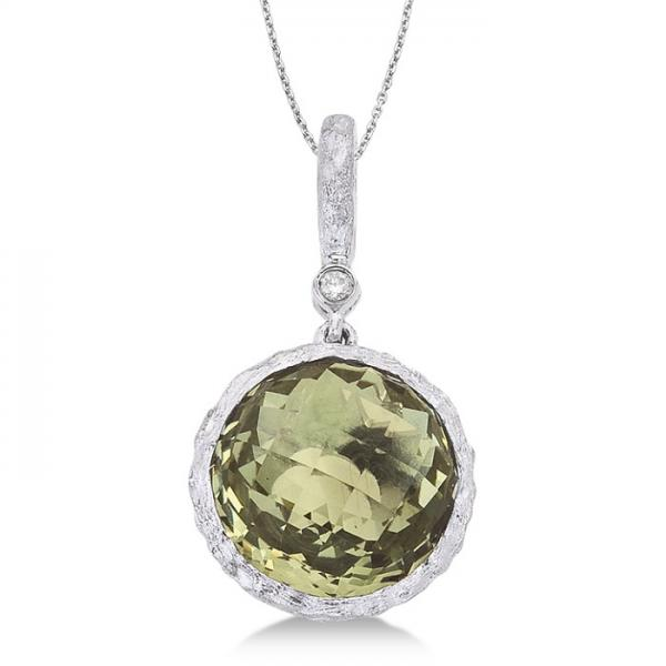 Green Amethyst Vintage Solitaire Pendant 14k White Gold (3.23ct)