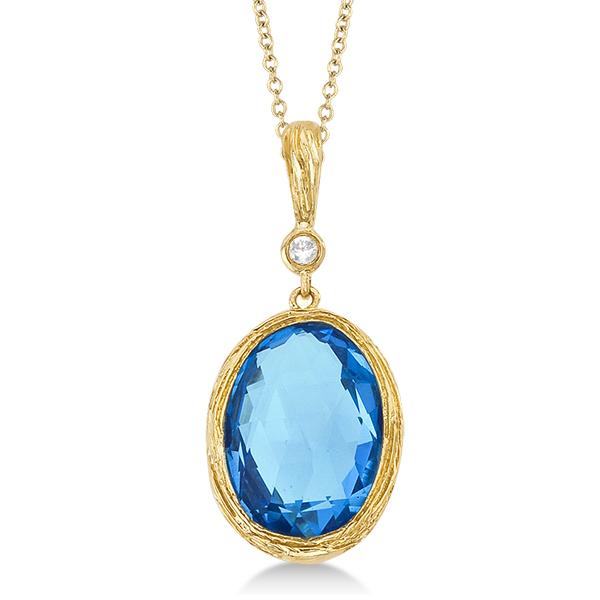 Antique blue topaz diamond pendant necklace 14k yellow gold 675ct antique blue topaz diamond pendant necklace 14k yellow gold aloadofball Image collections
