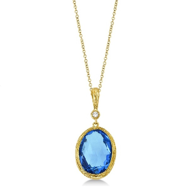 Antique Blue Topaz & Diamond Pendant Necklace 14k Yellow Gold (6.75ct)
