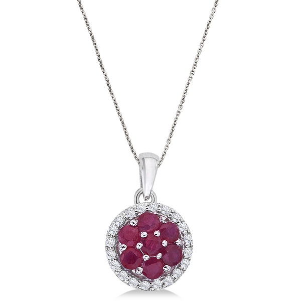 Diamond & Ruby Cluster Pendant Necklace 14k White Gold (0.80ct)