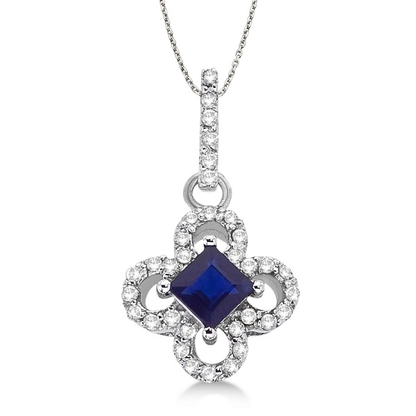 Princess-Cut Sapphire & Diamond Clover Pendant 14k White Gold (0.70ct)