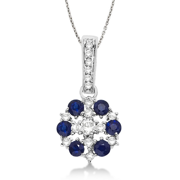 Blue Sapphire & Diamond Flower Cluster Pendant 14k White Gold (0.70ct)