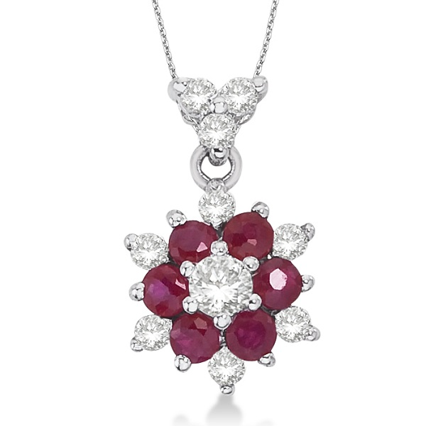 Diamond & Ruby Cluster Pendant Necklace 14k White Gold (0.50ct)