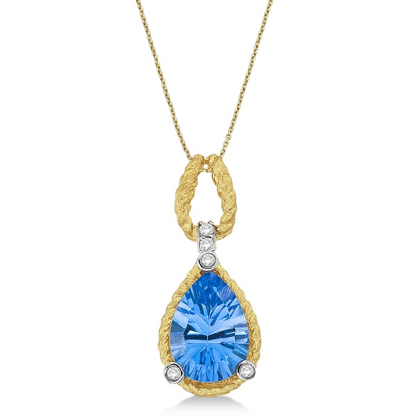 Blue Topaz & Diamond Rope Pendant Necklace 14k Yellow Gold (2.30ct)