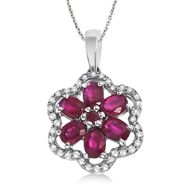 Diamond & Ruby Flower Shaped Pendant Necklace 14k White Gold (1.40ct)
