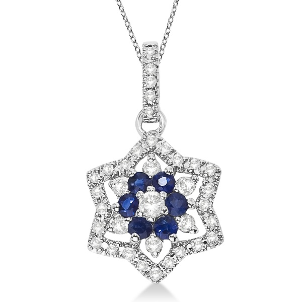 Blue Sapphire & Diamond Star Pendant Necklace 14k White Gold (0.55ct)