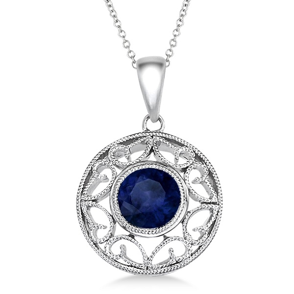 Antique Blue Sapphire Circle Pendant Necklace 14k White Gold (1.10ct)