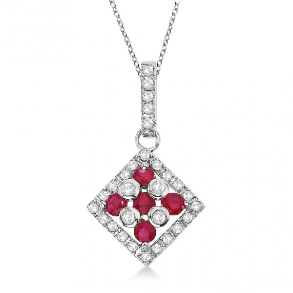 Ruby & Diamond Square Pendant Necklace 14k White Gold (0.55ct)