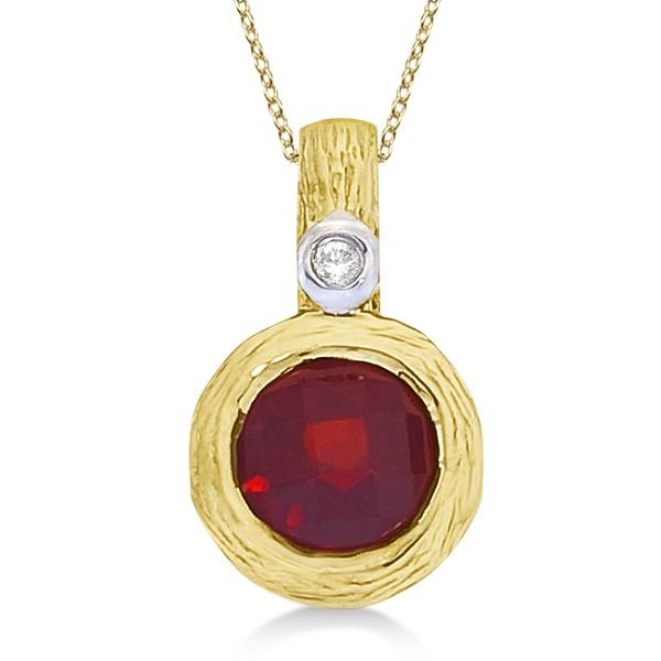 Vintage garnet diamond pendant necklace 14k yellow gold 101ct vintage garnet diamond pendant necklace 14k yellow gold aloadofball Choice Image