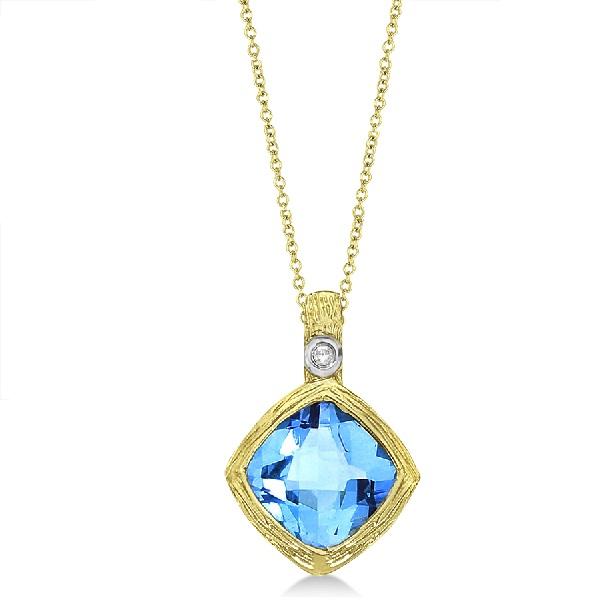 Antique Blue Topaz & Diamond Pendant Necklace 14k Yellow Gold (2.51ct)