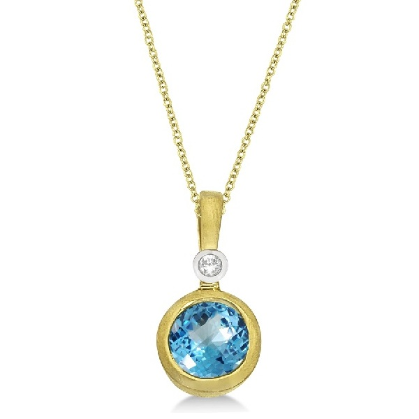 Antique Blue Topaz & Diamond Pendant Necklace 14k Yellow Gold (1.01ct)