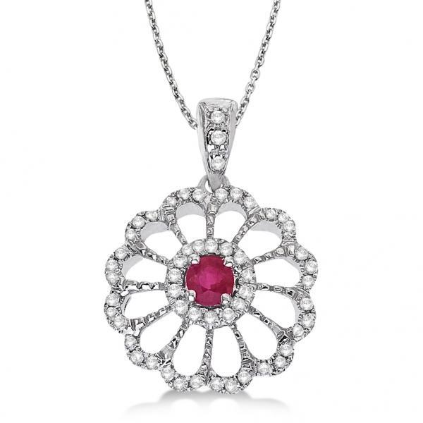 Ruby & Diamond Flower Filigree Pendant 14k White Gold (0.55ct)