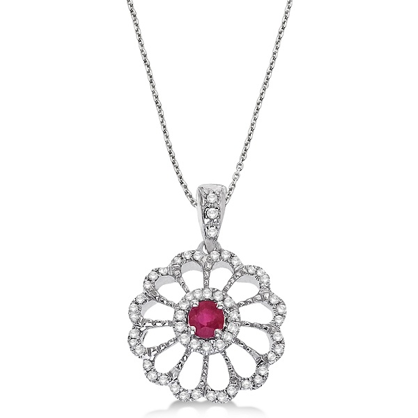 Ruby & Diamond Flower Filigree Pendant 14k White Gold (0.55ct)