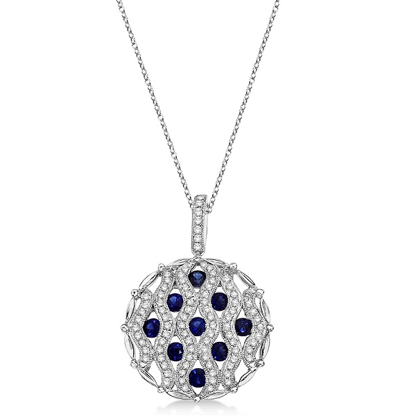 Sapphire & Diamond Circle Pendant Necklace 14k White Gold (1.55ctw)