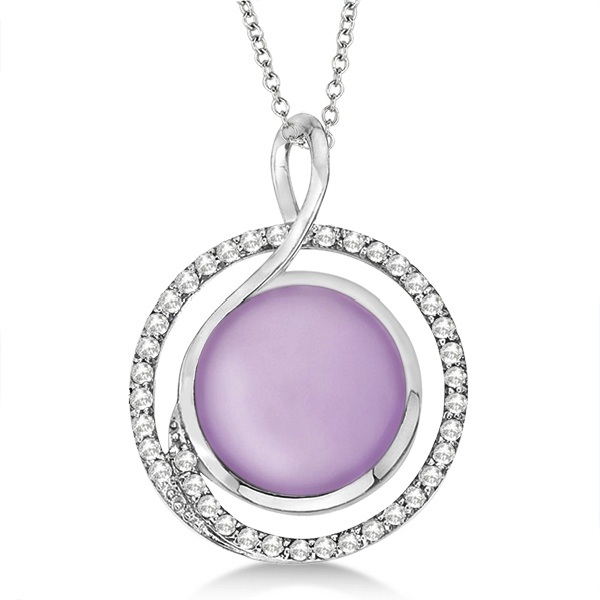 Round Pink Amethyst & Diamond Pendant Necklace 14k White Gold (5.40ct)