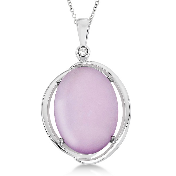 Cabochon Pink Amethyst & Diamond Necklace 14K White Gold (11.03ct)