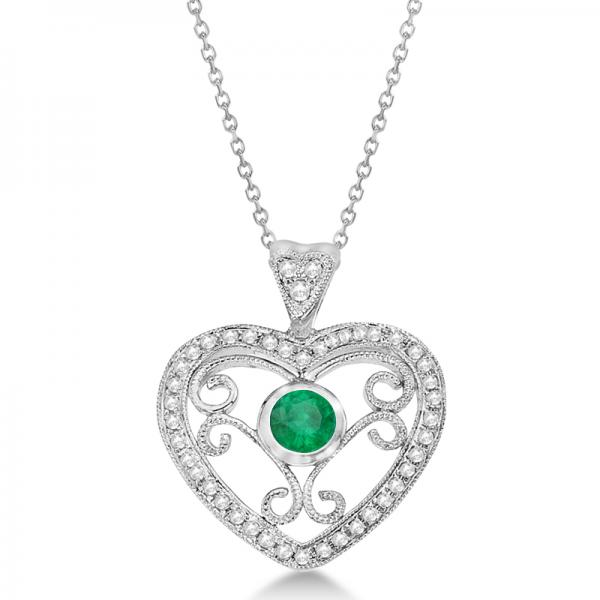 Emerald Filigree Heart Pendant Necklace in 14K White Gold (0.34ct)