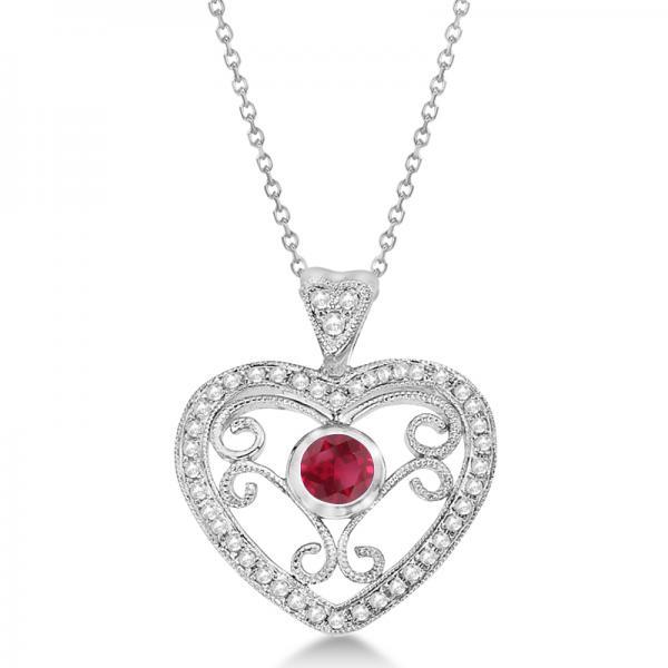 Ruby Gemstone Filigree Heart Pendant in 14K White Gold (0.44ct)