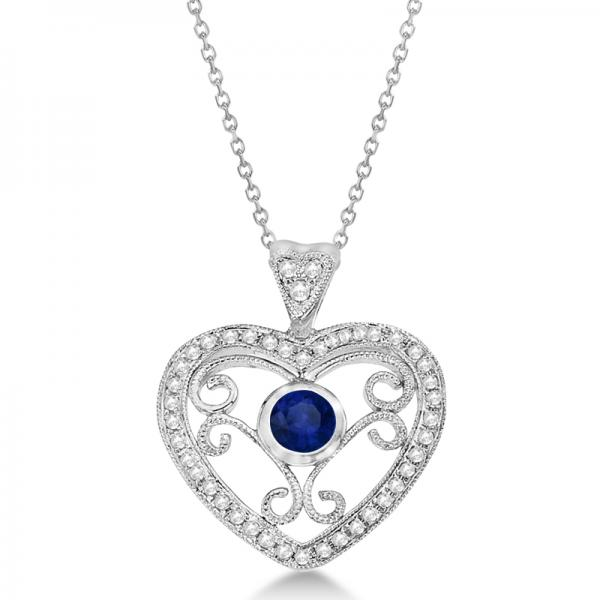 Blue Sapphire Filigree Heart Necklace in 14K White Gold (0.40ct)