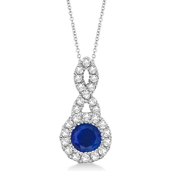 Blue Sapphire & Diamond Swirl Pendant Necklace 14K White Gold (0.39ct)