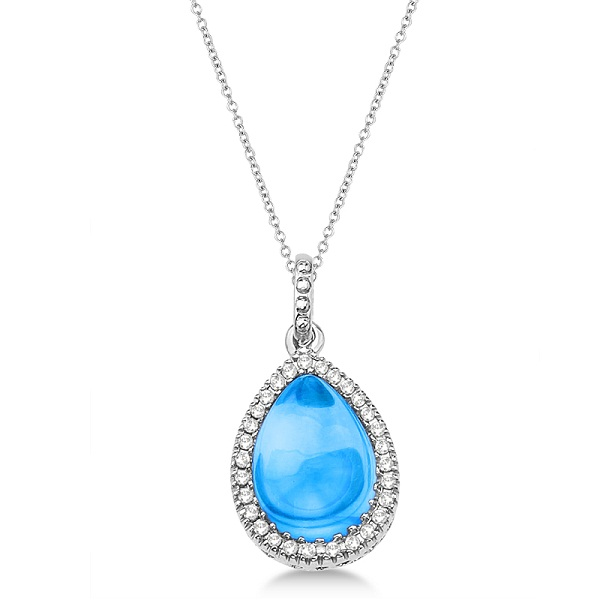 Pear Blue Topaz & Diamond Pendant Necklace 14K White Gold (3.10ct)