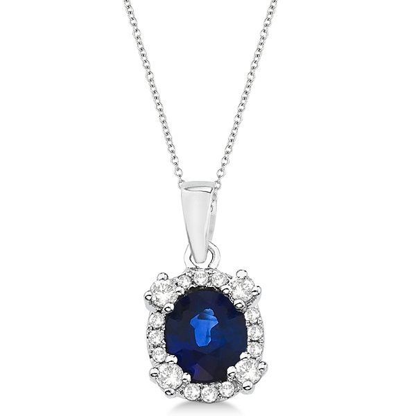 Oval Blue Sapphire & Diamond Pendant Necklace 14K White Gold (0.91ct)