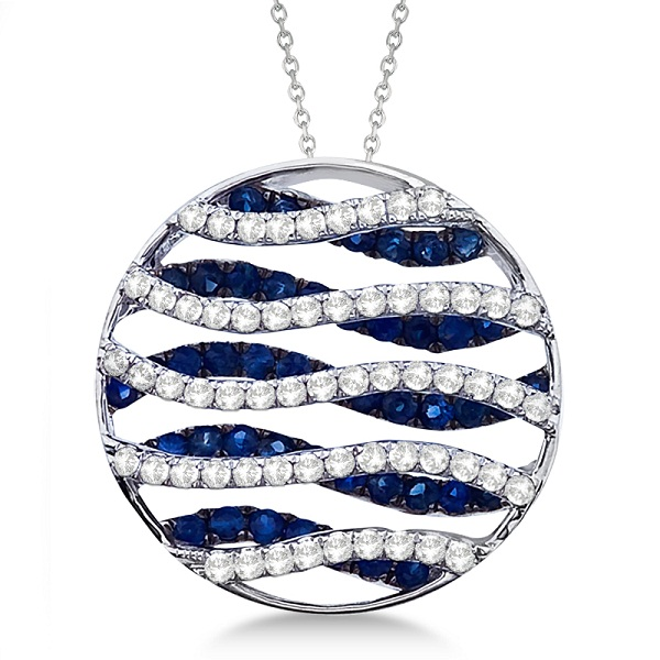 Circle Blue Sapphire & Diamond Pendant Necklace 14K White Gold (1.53ct)