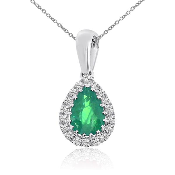 Diamond Teardrop Pear Emerald Pendant Necklace 14k White Gold (0.57ct)