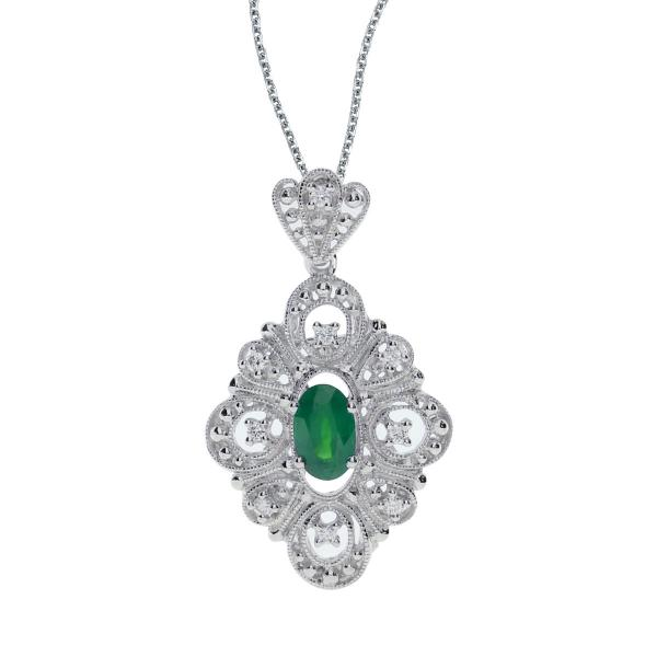 Diamond Emerald Oval Vintage Pendant Necklace 14k White Gold (0.58ct)