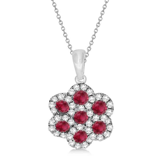 Ruby & Diamond Flower Cluster Pendant Necklace 14k W. Gold 0.92ct
