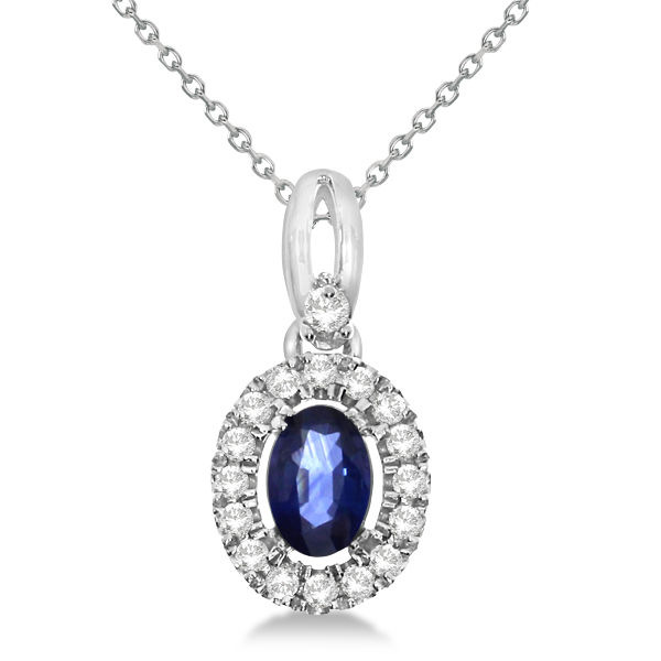 Oval Sapphire & Diamond Halo Pendant Necklace in 14K White Gold 0.61ct