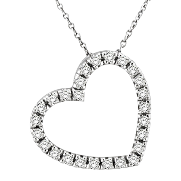 Diamond Heart Pendant Necklace in 14k White Gold (1/4 ctw)