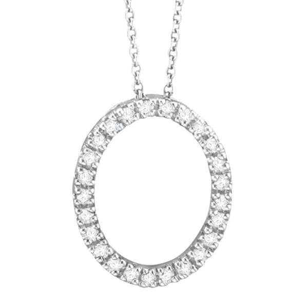 Diamond Oval Pendant Necklace 14k White Gold (0.25ct)