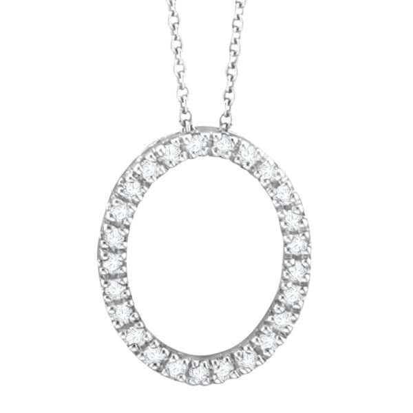 Diamond Oval Pendant Necklace 14k White Gold (0.25ct)