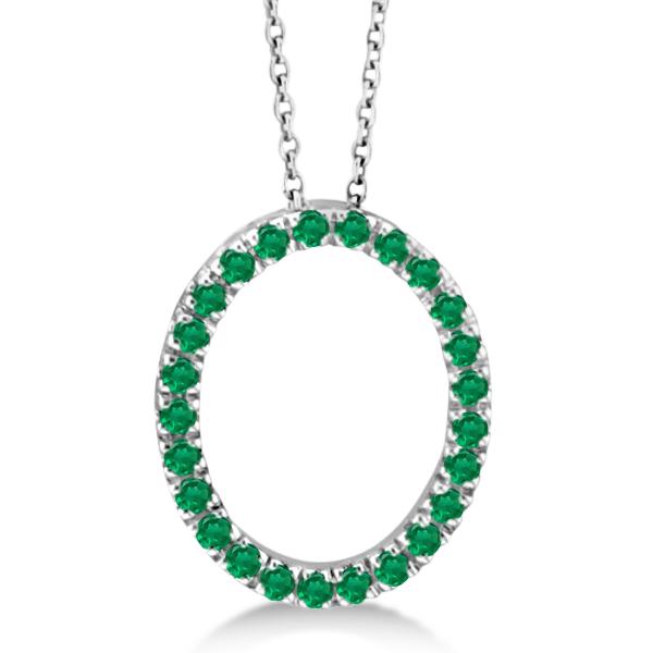 Emerald Oval Pendant Necklace w/ Chain 14k White Gold (0.25ct)