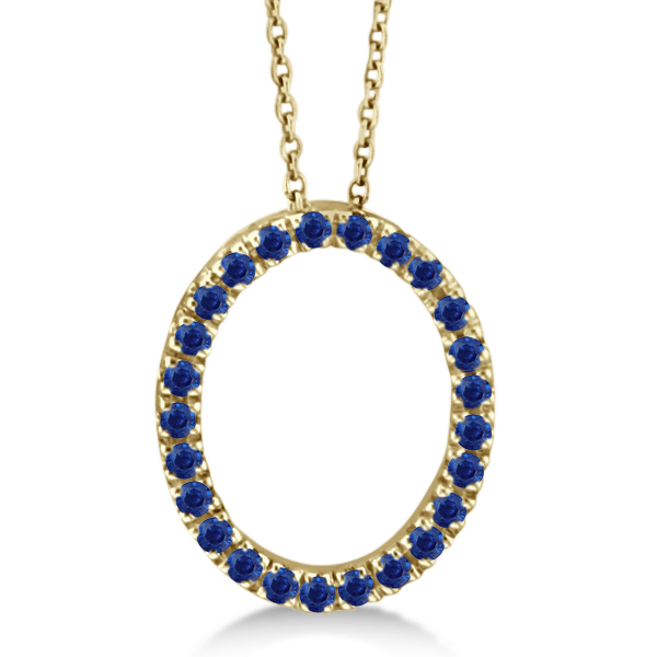 Blue Sapphire Oval Pendant Necklace w/ Chain 14k Yellow Gold (0.25ct)