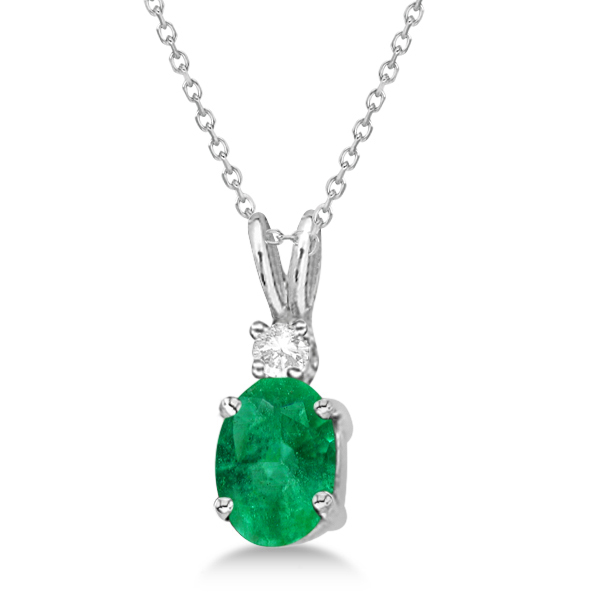 Oval Emerald Pendant with Diamonds 14K White Gold (0.71ctw)