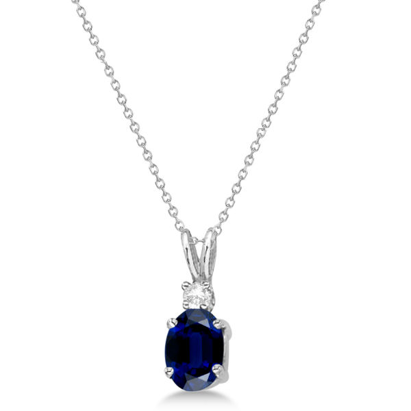Oval Sapphire Pendant with Diamonds 14K White Gold (1.11ctw)