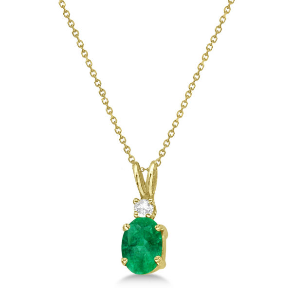 Oval Emerald Pendant with Diamonds 14K Yellow Gold (0.71ctw)