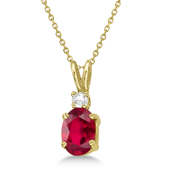 Oval Ruby Pendant with Diamonds 14K Yellow Gold (1.11ctw)