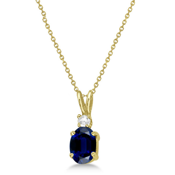 Oval Sapphire Pendant with Diamonds 14K Yellow Gold (1.11ctw)