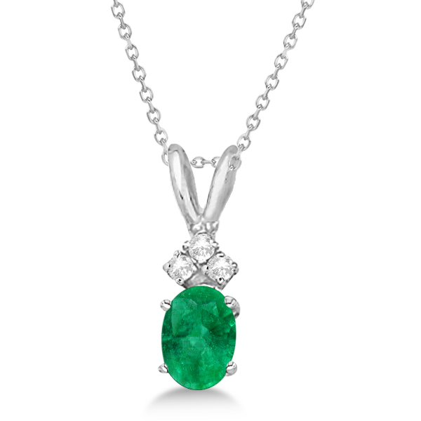 Oval Emerald Pendant with Diamonds 14K White Gold (0.72tw)