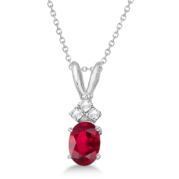 Oval Ruby Pendant with Diamonds 14K White Gold (1.12ctw)