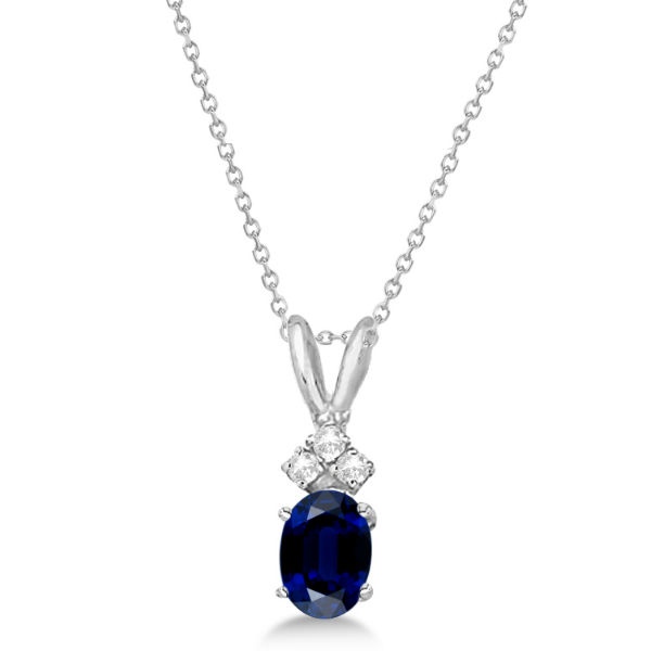 Oval Sapphire Pendant with Diamonds Pendant 14K White Gold (1.12ctw)